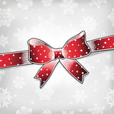 Red bow. On xmas background Stock Photo