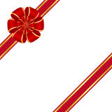 Red bow. Red rosette bow isolated on white background Stock Photo