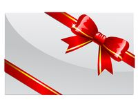 Red bow. On a white card or envelop Stock Photo