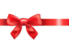 Red Bow. Red Ribbon With Bow, Isolated On White Background, Vector Illustration Royalty Free Stock Image