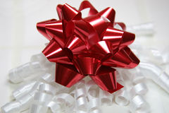 Red bow. Red and white bow Royalty Free Stock Photo