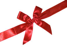 Red bow. Diagonal red bow. white background. isolated Royalty Free Stock Photo