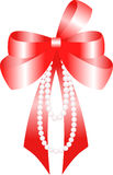 Red bow. And beads. Vector Illustration Stock Images