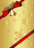 Red bow, bells, mistletoe and fir twig. Bells, red bow and mistletoe on golden background Stock Image