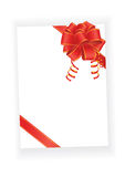 Red bow on blank paper. Sheet Royalty Free Stock Image