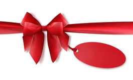 Red bow with blank tag Stock Photography