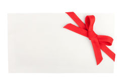 Red bow on a blank white box Royalty Free Stock Photography