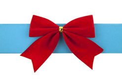 Red bow and blue ribbon Royalty Free Stock Photos