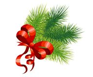 Red bow and branches of a Christmas tree. New Year's and Christmas decor. Vector illustration isolated on white background. Website and mobile app design Stock Photos