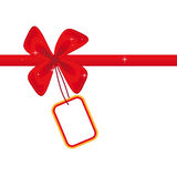 Red bow with a card Stock Images