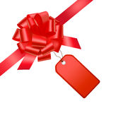 Red bow with card. Vector Stock Photo