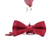 Red bow on champagne glass. Stock Photography
