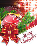 Red bow and Christmas bauble Royalty Free Stock Images
