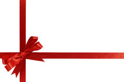 Red bow christmas gift ribbon. Isolated Royalty Free Stock Photo