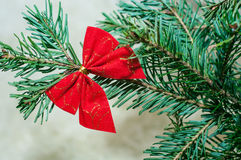 Red Bow on Christmas Tree Royalty Free Stock Images