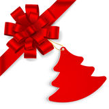 Red bow with christmas tree Royalty Free Stock Images