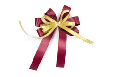 A. red bow with a clipping path isolated on white. Stock Photo