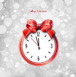 Red bow on clock. Vector christmas card Royalty Free Stock Image