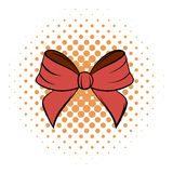 Red bow comics icon. On the white background Royalty Free Stock Photos