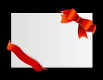 Red bow on the corner. Stock Photos