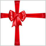 Red bow with crosswise ribbons Stock Photo