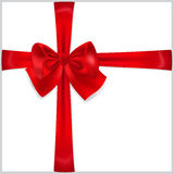 Red bow with crosswise ribbons Stock Image