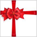 Red bow with crosswise ribbons Royalty Free Stock Photos