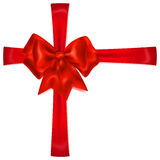 Red bow with crosswise ribbons Stock Photography