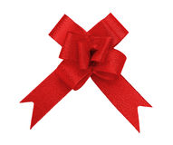 Red bow cutout. Red fabric textile bow isolated on white with clipping path Stock Image