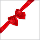 Red bow with diagonally ribbon Stock Image
