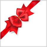 Red bow with diagonally ribbon Stock Photo