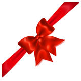 Red bow with diagonally ribbon Stock Photography