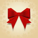 Red bow with dot pattern Stock Photo