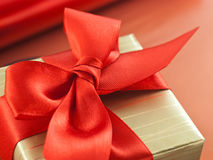 Red bow on a gift box Stock Photo