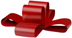 Red bow for gift box Royalty Free Stock Image