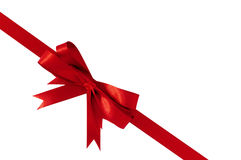Red bow gift ribbon corner diagonal Royalty Free Stock Images