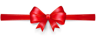 Red bow with gold strips Royalty Free Stock Photos
