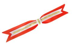 Red bow with gold tape and ribbons Royalty Free Stock Photo