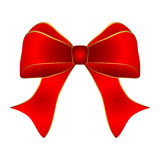 Red bow with gold trim Royalty Free Stock Images
