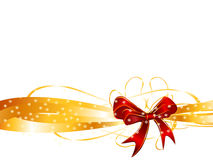 Red bow on a golden ribbon background. Background of red bow on a golden ribbon Royalty Free Stock Images