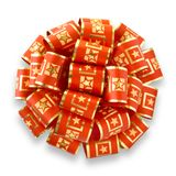 Red Bow With Golden Stars Stock Photography