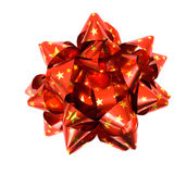 Red bow with golden stars Royalty Free Stock Photo