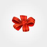 Red bow with golden stripes Stock Photo