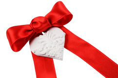 Red bow with heart Stock Photography