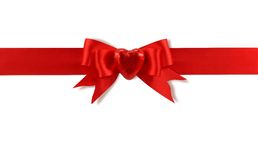 Red bow with heart Stock Photo