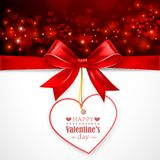 Red bow with heart. On abstract background with hearts. Vector illustration Stock Photos