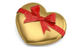 A red bow and heart isolated on white background 3D illustration.  stock illustration