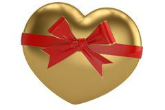 A red bow and heart isolated on white background 3D illustration.  vector illustration