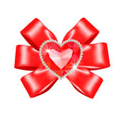 Red bow with heart ruby Royalty Free Stock Photography