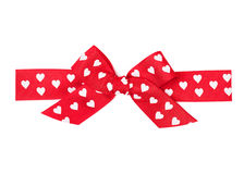 Red bow with hearts Stock Photo